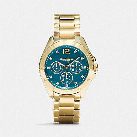 COACH W1207 TRISTEN GOLD PLATED COLOR DIAL BRACELET WATCH TEAL