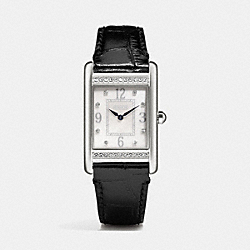 COACH W1223 Lexington Large Crystal Stainless Steel Strap Watch  BLACK