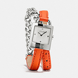 COACH W1251 - TORI STAINLESS STEEL CHAIN DOUBLE WRAP WATCH  ORANGE