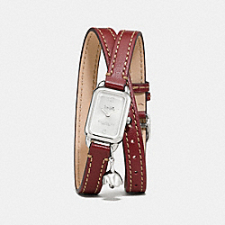 COACH W1256 - LUDLOW DOUBLE WRAP WATCH WITH CHARM, 17MM X 24MM CHERRY