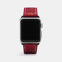 COACH W1297+MZT++WMN Apple Watch® Strap With Prints DEEP SCARLET
