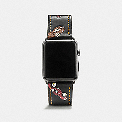 COACH W1299+BLC++WMN Apple Watch® Strap With Car Print BLACK MULTI