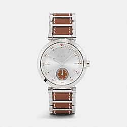 COACH W1305 1941 Sport Stainless Steel Leather Link Bracelet Watch SADDLE