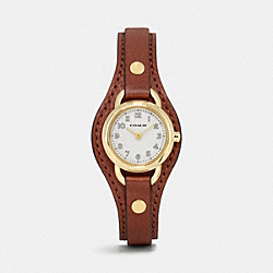 COACH W1328 - DREE GOLD PLATED LEATHER BUCKLE CUFF WATCH SADDLE