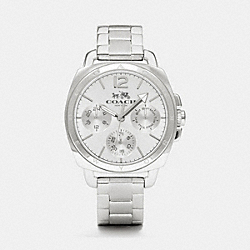 BOYFRIEND SMALL STAINLESS STEEL MULTIFUNCTION BRACELET WATCH - w1358 -  STERLING SILVER