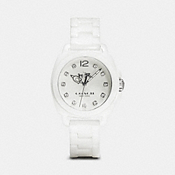 COACH W1498 Boyfriend 34mm Ceramic Bracelet Watch WHITE
