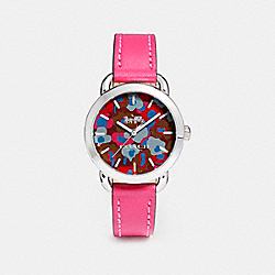 LEX LEATHER STRAP WATCH WITH PRINTED DIAL - w1534 - MAGENTA