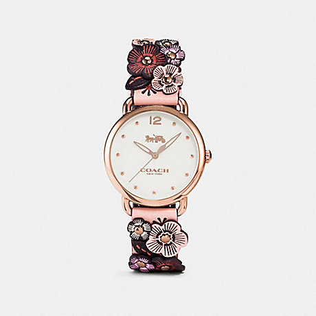 COACH W1539 DELANCEY WATCH WITH FLORAL APPLIQUE, 36MM NUDE PINK