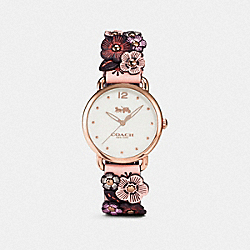 COACH W1539 - DELANCEY WATCH WITH FLORAL APPLIQUE, 36MM NUDE PINK