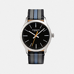 BAXTER LEATHER STRAP WATCH WITH VARSITY STRIPE - w1545 - D9B
