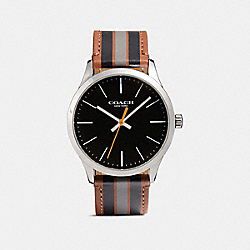 COACH W1545 Baxter Leather Strap Watch With Varsity Stripe DD0