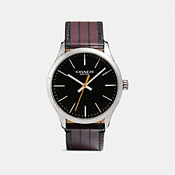 COACH W1545 Baxter Leather Strap Watch With Varsity Stripe MAHOGANY/BLACK
