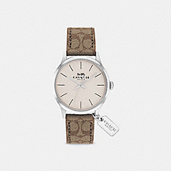 COACH W1549 Ruby Leather Strap Watch KHAKI
