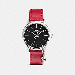 COACH W1549 Ruby Leather Strap Watch RED/BLACK