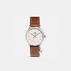 COACH W1549 Ruby Leather Strap Watch SADDLE