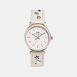 COACH W1550 - RUBY LEATHER STRAP WATCH WITH STUDS CHALK