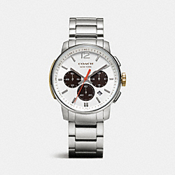 COACH W4006 Bleecker Chrono Stainless Steel Bracelet Watch WHITE