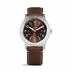 COACH W5001 - RIVINGTON STAINLESS STEEL LEATHER STRAP WATCH MAHOGANY