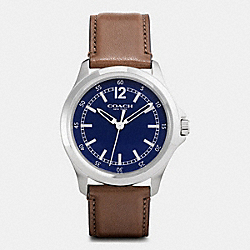 COACH W5010 Barrow Stainless Steel Leather Strap Watch NAVY/SADDLE