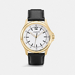 COACH BARROW LEATHER STRAP WATCH - GOLD/BLACK - W5011