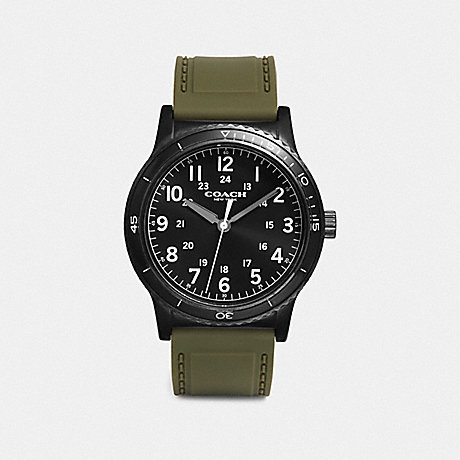COACH W5016 RIVINGTON WATCH, 42MM MILITARY/BLACK