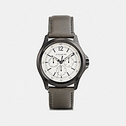 COACH BARROW IONIZED PLATED MULTIFUNCTION STRAP WATCH - FOG/PARCHMENT - W5019