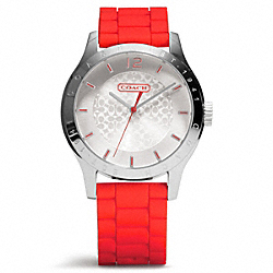 MADDY STAINLESS STEEL RUBBER STRAP WATCH - w6000 - VERMILLION