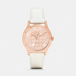 COACH W6041 Maddy Rosegold Plated Strap Watch WHITE