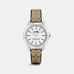 COACH W6053 - LEX STAINLESS STEEL SIGNATURE C STRAP WATCH KHAKI