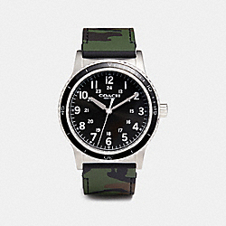 COACH W6189 - RIVINGTON STAINLESS STEEL RUBBER STRAP WATCH GREEN CAMO