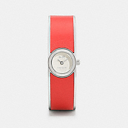 COACH W6197 Scout Stainless Steel And Leather Bangle Watch CORAL
