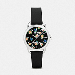 COACH W6215 Lex Stainless Steel Floral Rubber Strap Watch BLACK