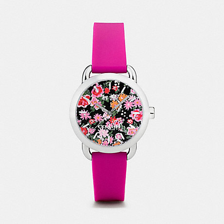 COACH W6215 LEX STAINLESS STEEL FLORAL RUBBER STRAP WATCH PINK