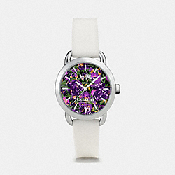 COACH W6215 - LEX STAINLESS STEEL FLORAL RUBBER STRAP WATCH WHITE