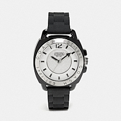 COACH W914 Boyfriend Rubber Strap Watch BLACK