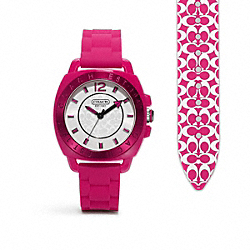COACH W914 Boyfriend Rubber Strap Watch FUCHSIA