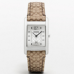 COACH W954 - CARLISLE STAINLESS STEEL SIGNATURE STRAP WATCH ONE-COLOR