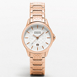COACH W994 Classic Signature Rosegold Small Etched Bracelet Watch