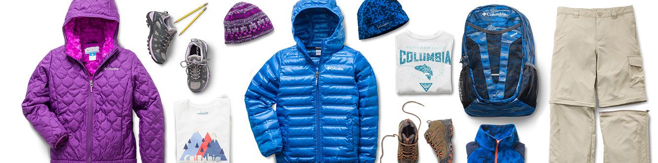 Images of backpacks, jackets, shoes and hats for boys and girls