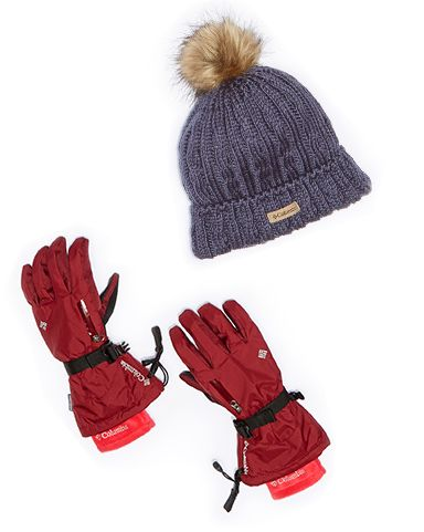 Columbia hat and gloves.