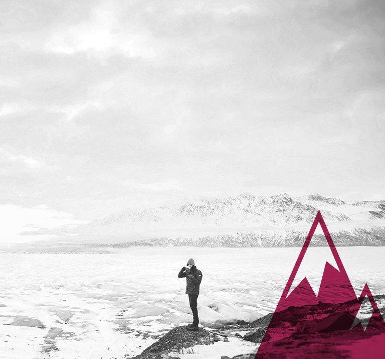 winter sale icy landscape with red mountain graphic