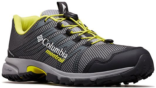 Close-up of a Columbia Montrail trail running shoe for men.