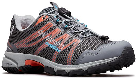 Close-up of a Columbia Montrail trail running shoe for women.
