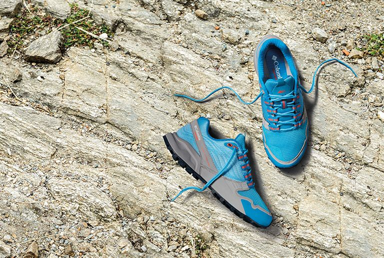 Close-up of Alpine FTG trail running shoes for women.