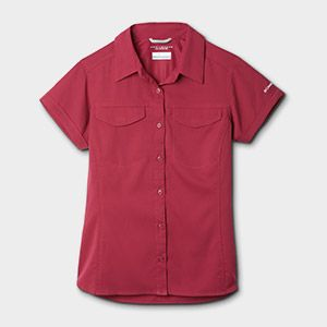 A red short sleeve shirt.