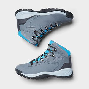 Grey and sky blue hiking boots.