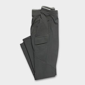 Folded gray pants.