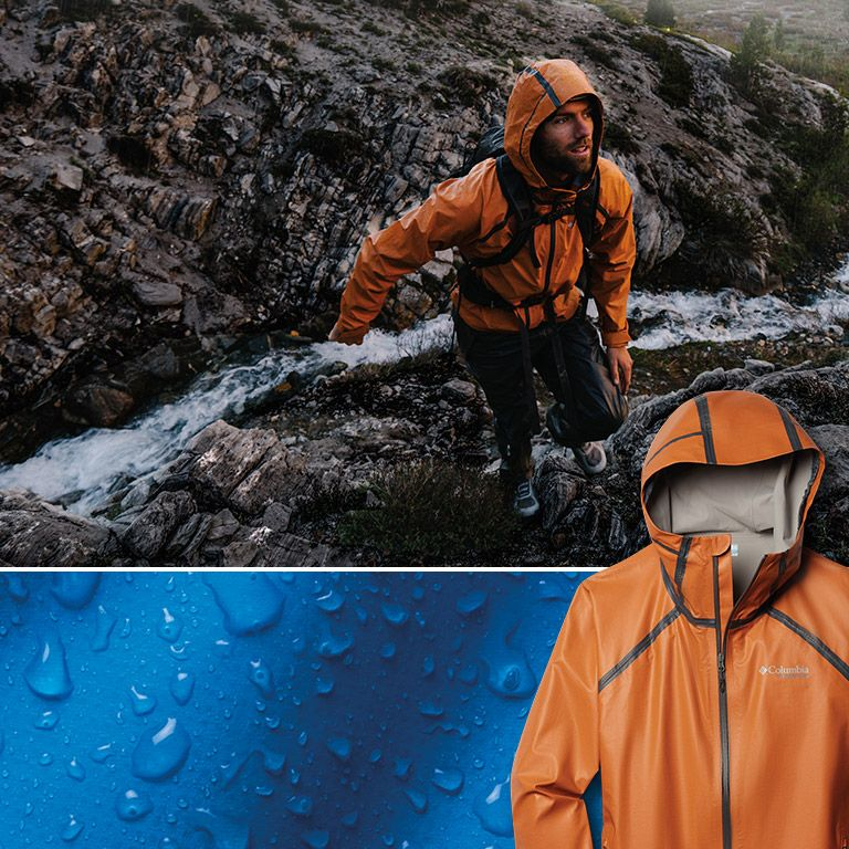 A man hiking in a raincoat 5b96bdd0141