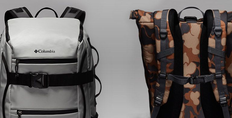 Close-ups of two backpacks.