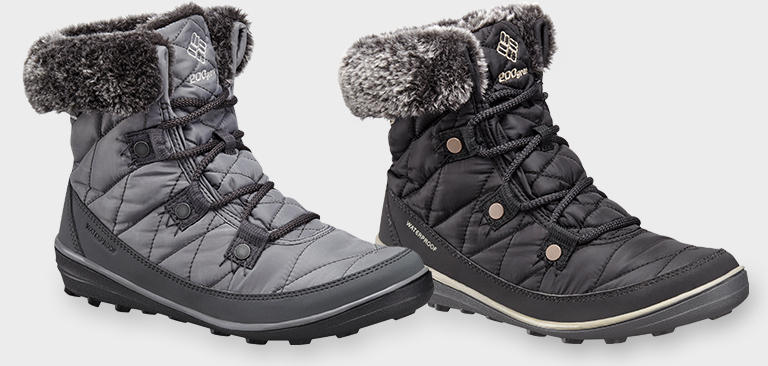 Close-up of black and gray women's Heavenly Shorty Omni-Heat boots.